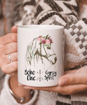 Cute Horse Lover CoffeeMug Boho Hippie Western Equestrian Ladies Mug 5