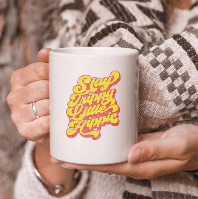 Stay Trippy Little Hippie CoffeeMug | 70s Hippie White mug Mug 3