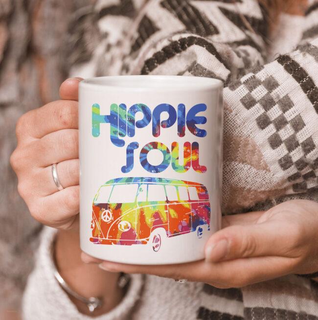 Hippie Soul Van Bus Vintage Retro Tie Dye Psychedelic Hippy Mug 3