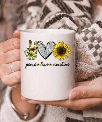 Peace Love Sunshine Sunflower Hippie mug 5