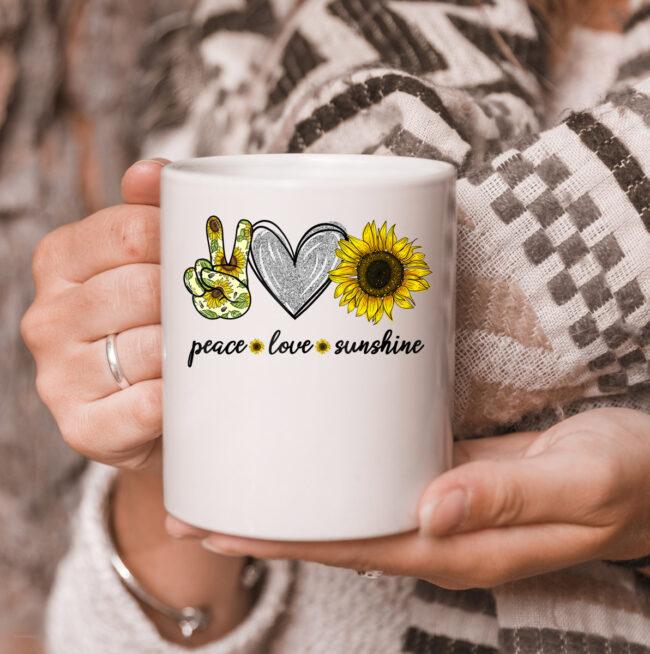 Peace Love Sunshine Sunflower Hippie mug 3