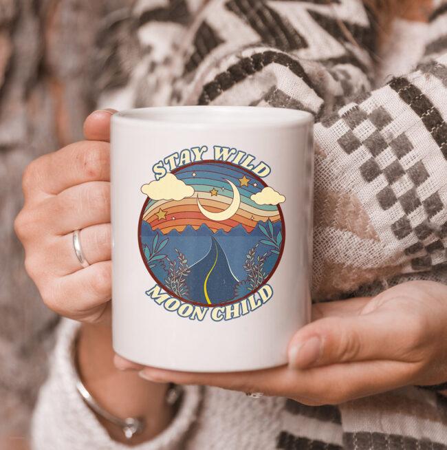 Vintage Retro Stay Wild Moon Child Boho Peace Hippie Gift mug 3