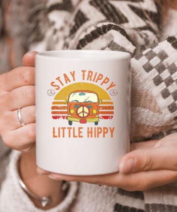 Stay Trippy Little Hippy   Peace Hippie Van Retro Vintage Mug 5