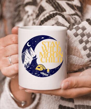 Vintage Retro Stay Wild Moon Child Boho Peace Hippie Gift mug 5