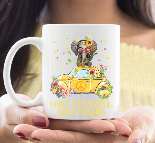 I Got A Peaceful Easy Feeling Funny Elephant Hippie Mug 1