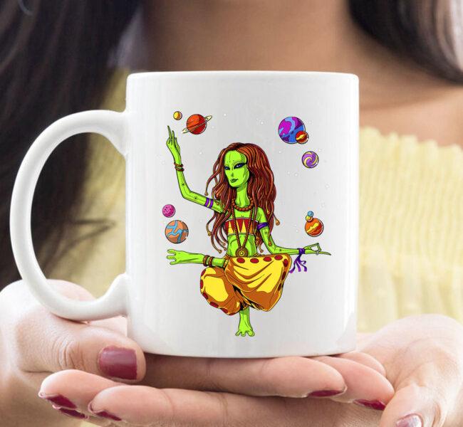 Space Alien Hippie Yoga Zen Meditation Psychedelic Women Mug 1