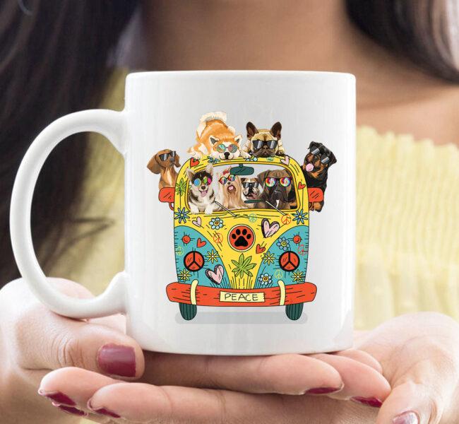 Funny Peace Love Dogs Hippie Van CoffeeMugs Summer Gifts Mug 1