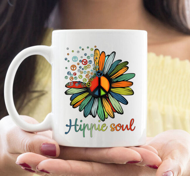 Daisy Peace Sign Hippie Soul TCoffeeMug Flower Lovers Gifts Mug 1