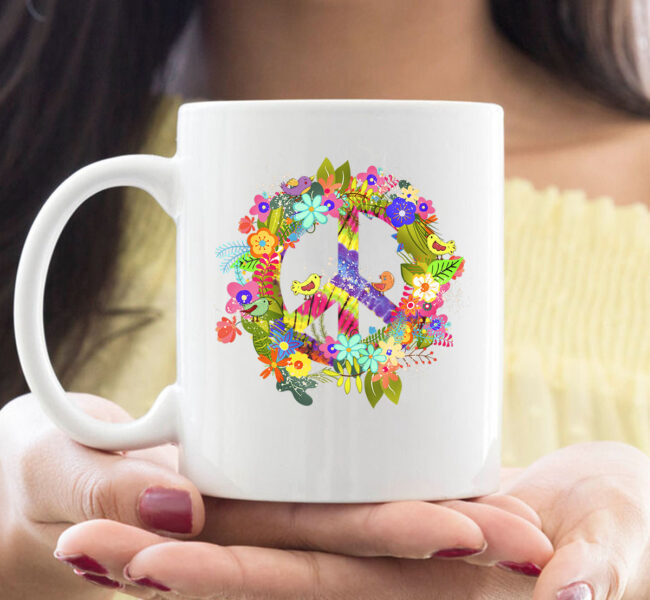 Peace Sign Hippie Wreath CoffeeMug Boho Hippie Gift PEACE & LOVE Mug 1