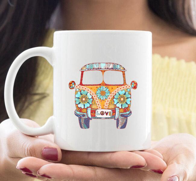 Vintage 1960s Hippie Micro Bus Van Gift Mug 1