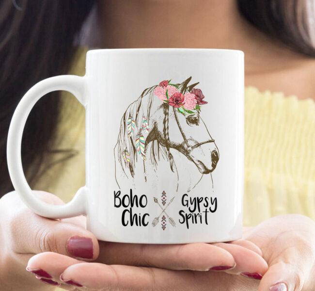 Cute Horse Lover CoffeeMug Boho Hippie Western Equestrian Ladies Mug 1