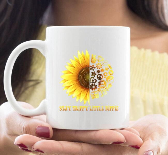 Stay Trippy Little Hippie CoffeeMug | 70s Hippie White mug Mug 1