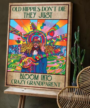 OLd hippie dont die, they just bloom into grandparent, gypsy life canvas art 8