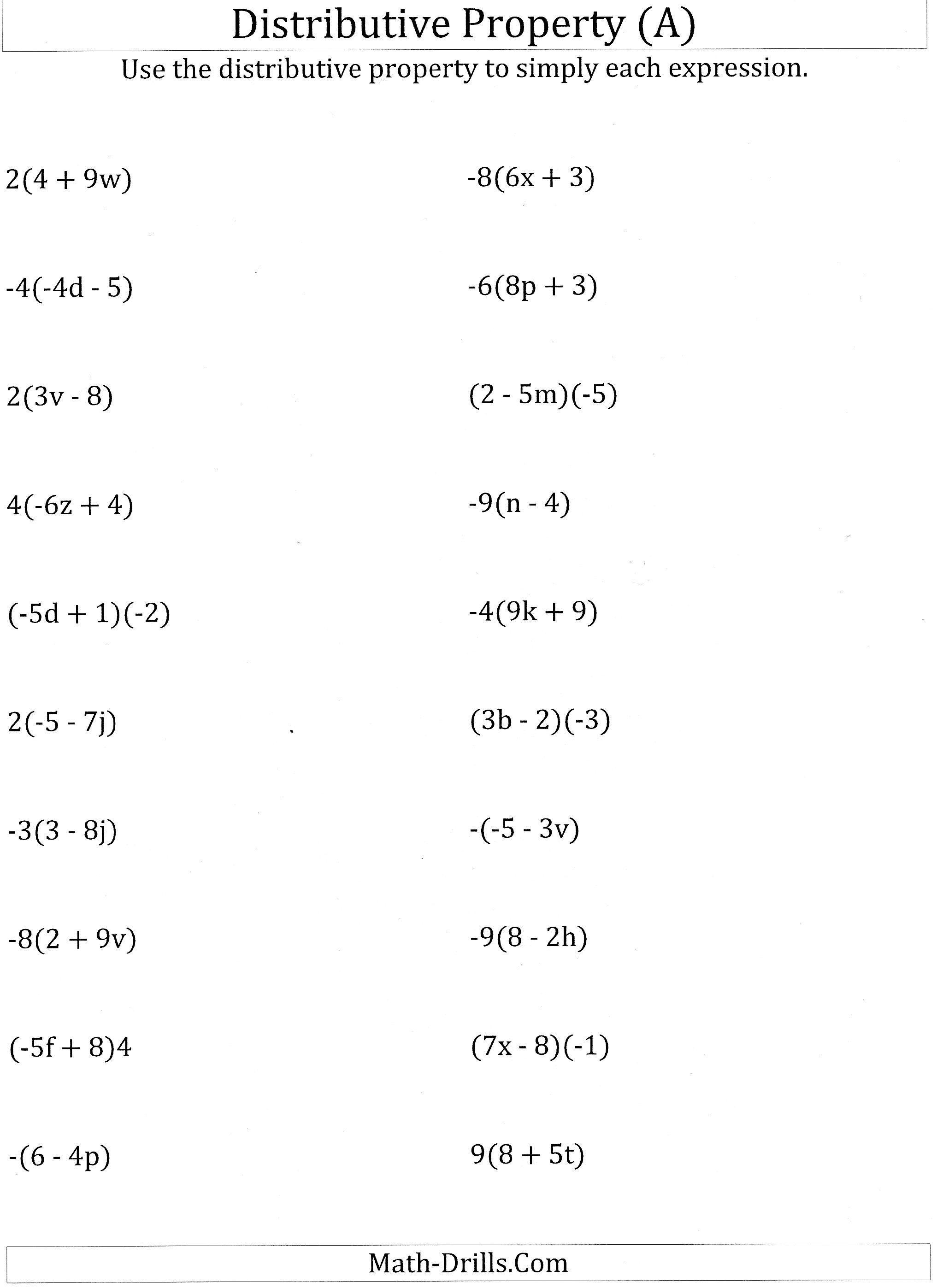 Printable Worksheets Distributive Property Letter Worksheets