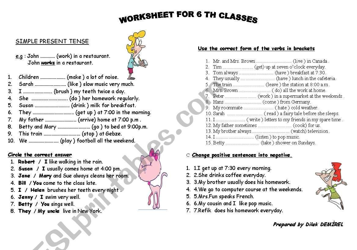 Printable Exercises On Simple Present Tense Letter