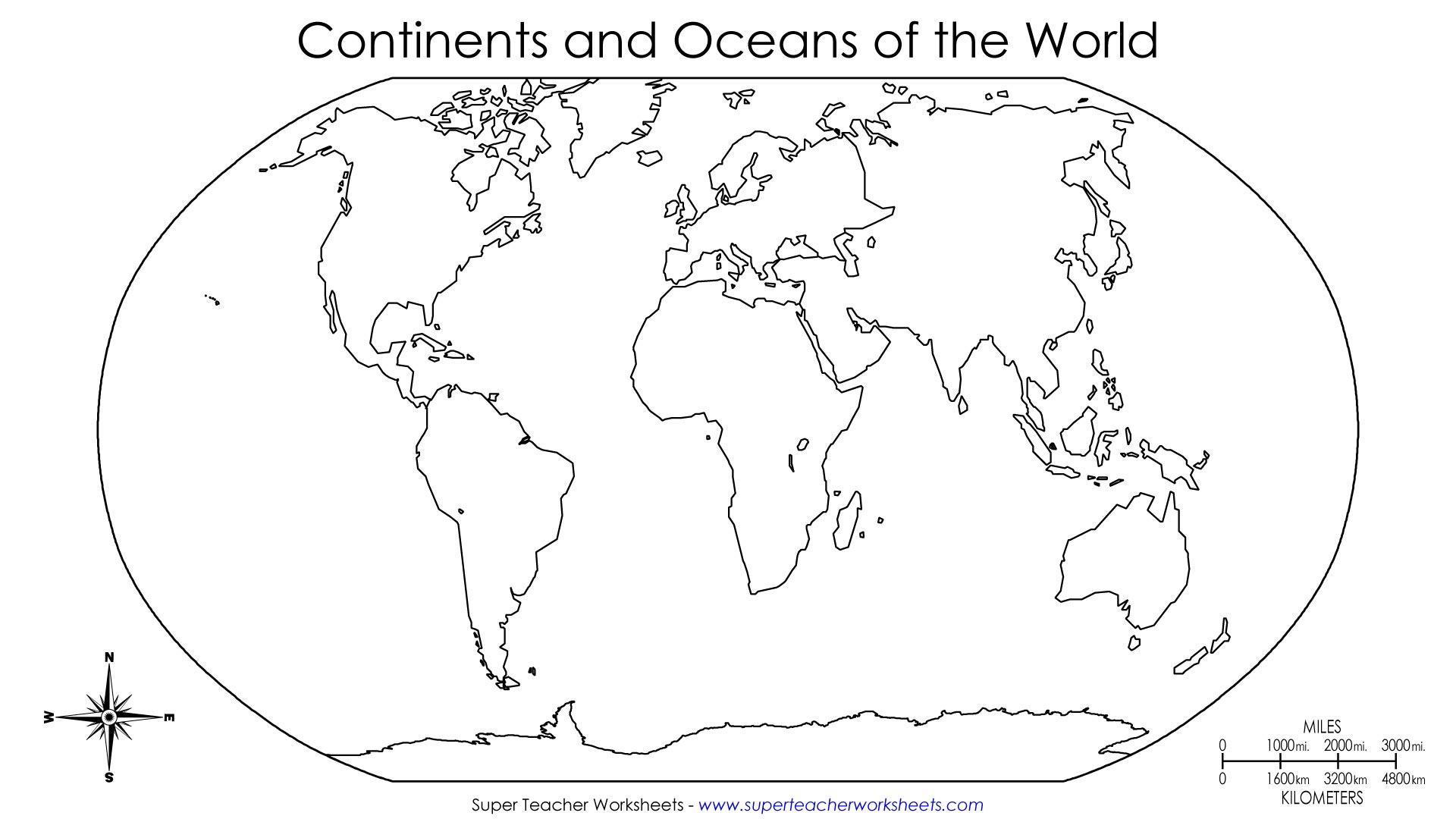 Free Printable Blank World Map Worksheet 3 Letter Worksheets