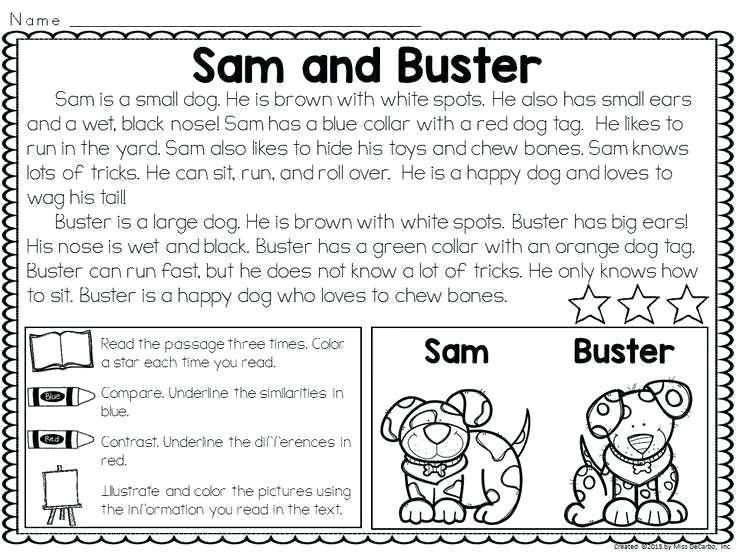 Free Printable Worksheets Reading Comprehension 1st Grade – Letter  Worksheets