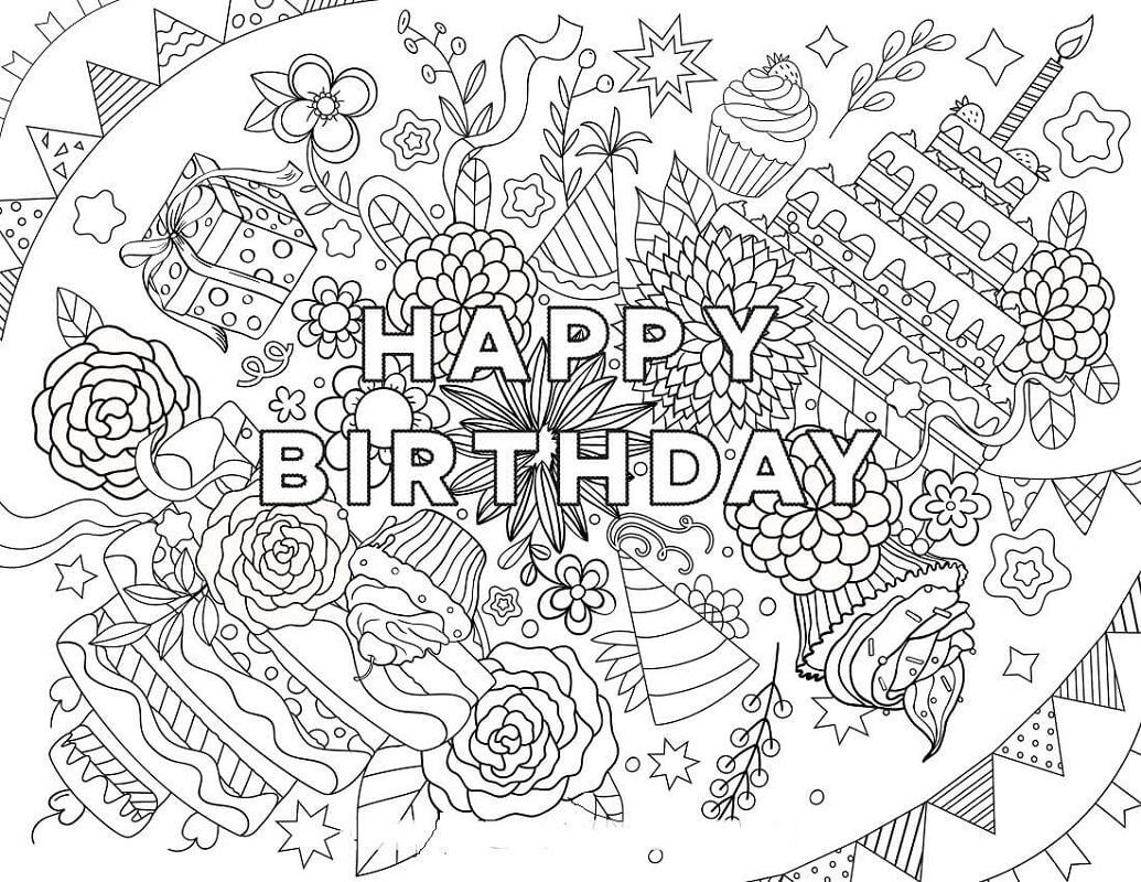 Free Printable Coloring Pages For Adults Happy Birthday Letter Worksheets