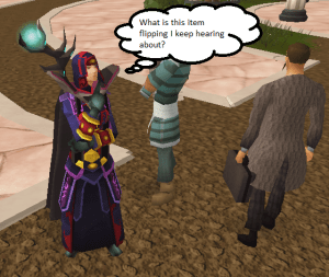Runescape character thinking about flipping items on the Grand Exchange