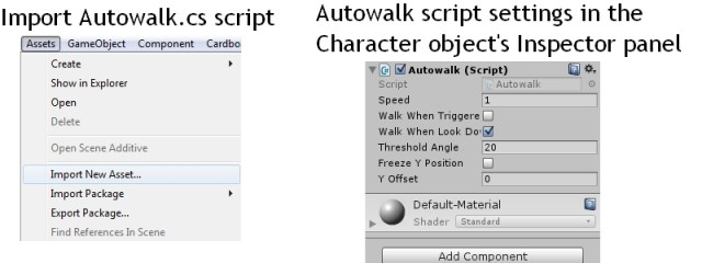 Importing Autowalk.cs script and setting it up for Virtual reality game