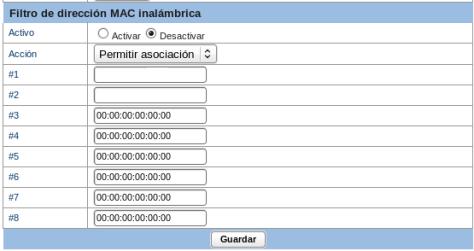 Filtro de dirección MAC inalámbrica.