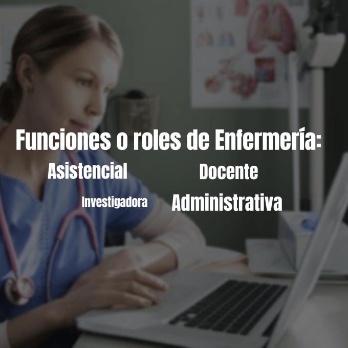 Las funciones o roles de enfermería son aquellas acciones que se pueden desempeñar en el área laboral gracias al método científico,  se basa en 4 funciones.
