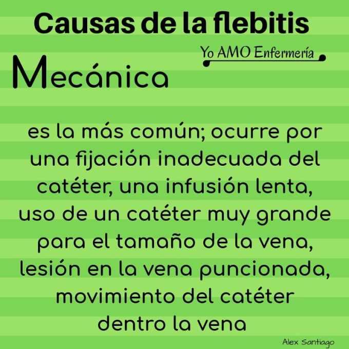 causas mecánicas de la flebitis