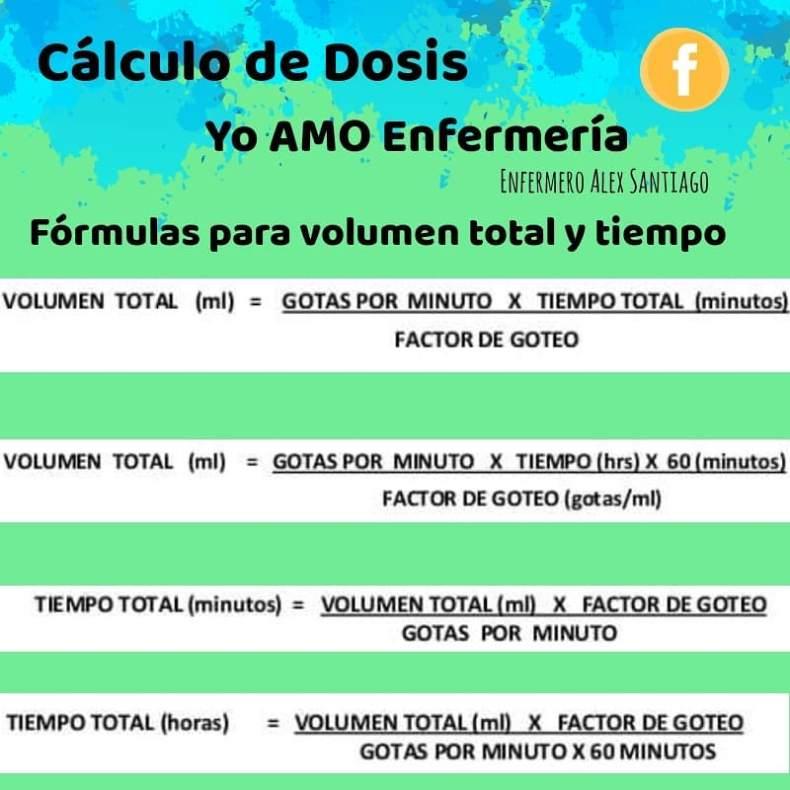 formula de volumen total y tiempo enfermeria