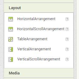 layouts en app inventor para organizar botones y elementos