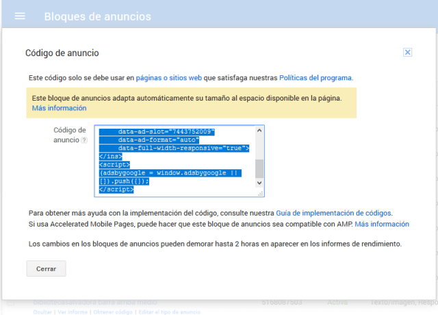 copiar codigo html anuncio google adsense