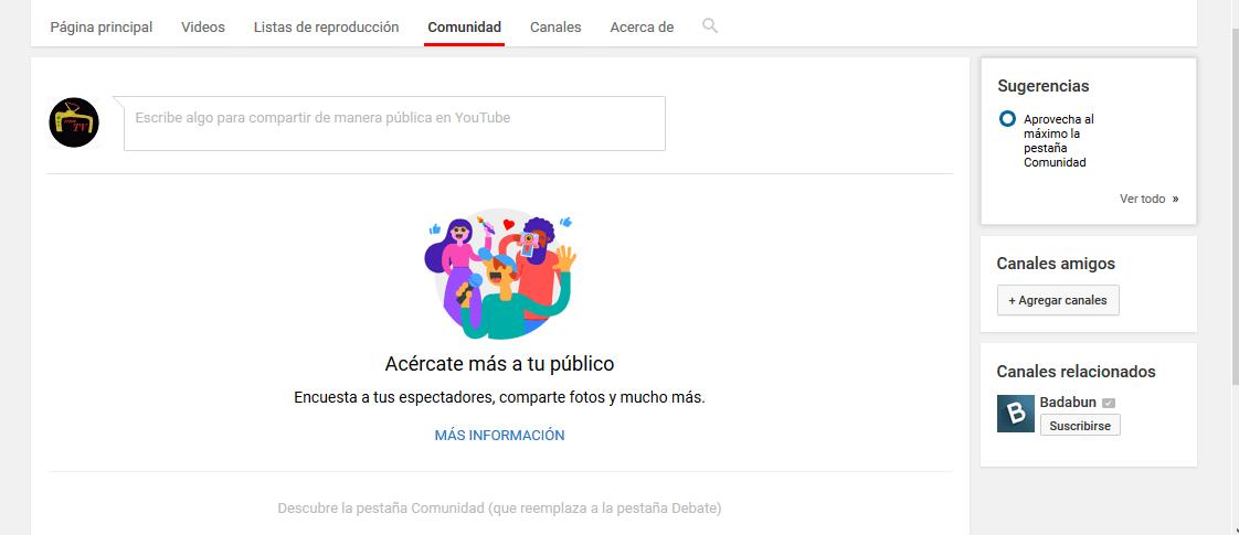 Sección de comunidad en Youtube