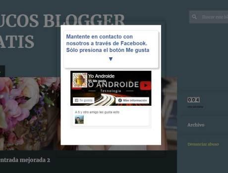 Pop up con caja de me gusta Fanpage para Blogger