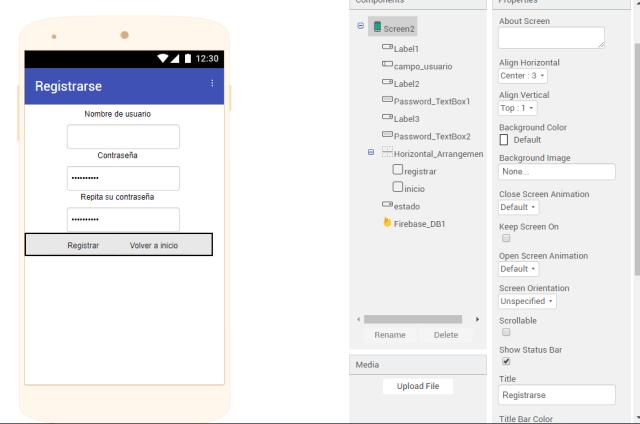 thunkable pantalla registro signup