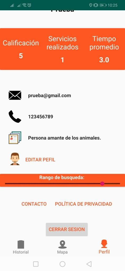 doggygo perfil de usuario paseador de mascotas