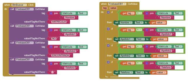 Bloques Recuperando varios datos app inventor firebase