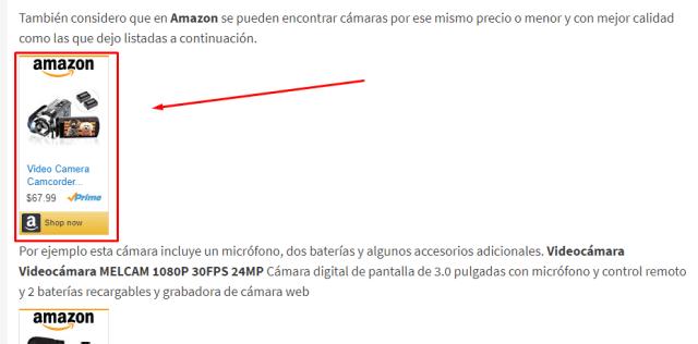 Amazon afiliados banner dentro de texto