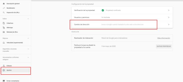 como redirigir una web desde la search console