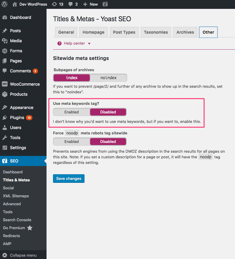 turn on meta keywords in yoast seo