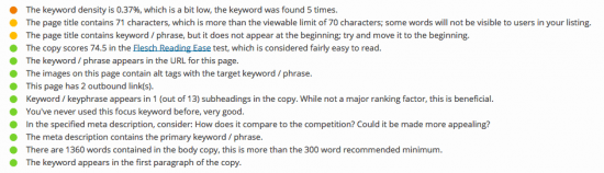 page analysis results for this SEO-friendly blog post