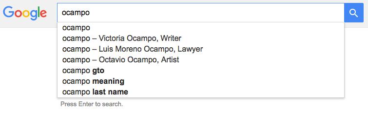 Disambiguation result for Ocampo