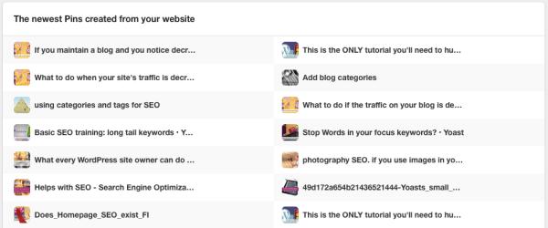 Pinterest Analytics: original pins table