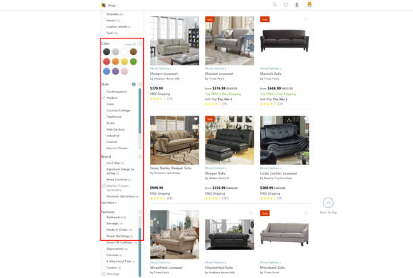 wayfair filtering options