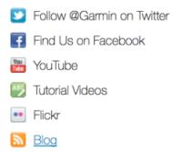 Contact page examples: social at Garmin