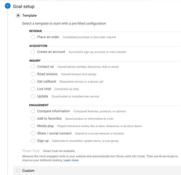 Step 1 Goal setup in Google Analytics