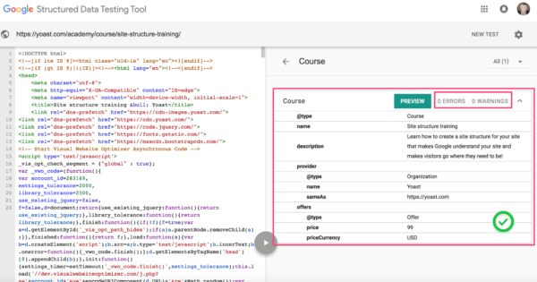 google tag manager structured data end result