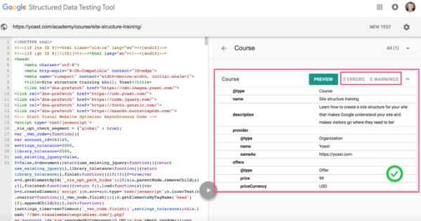 google tag manager structured data end result