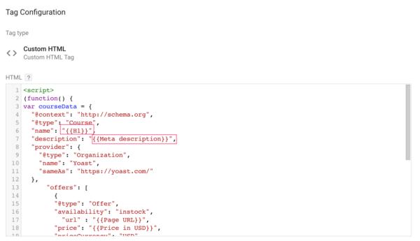 google tag manager structured data meta description