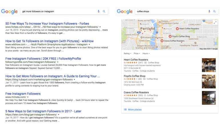 comparing search results