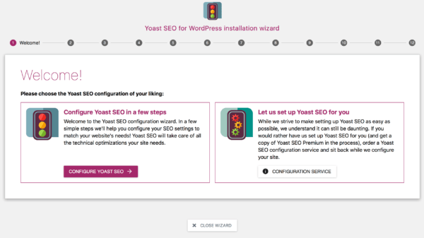 Yoast SEO configuration wizard: Welcome
