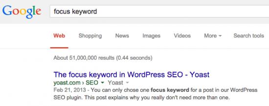 "pencarian untuk ""kata kunci fokus"" di Google"